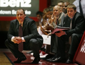 Utah basketball coach Jim Boylen as the University of Utah defeats Montana Tech 83-40 in pre-season men's basketball action in Salt Lake City, Utah, Nov. 1, 2007. Photo by Tom Smart